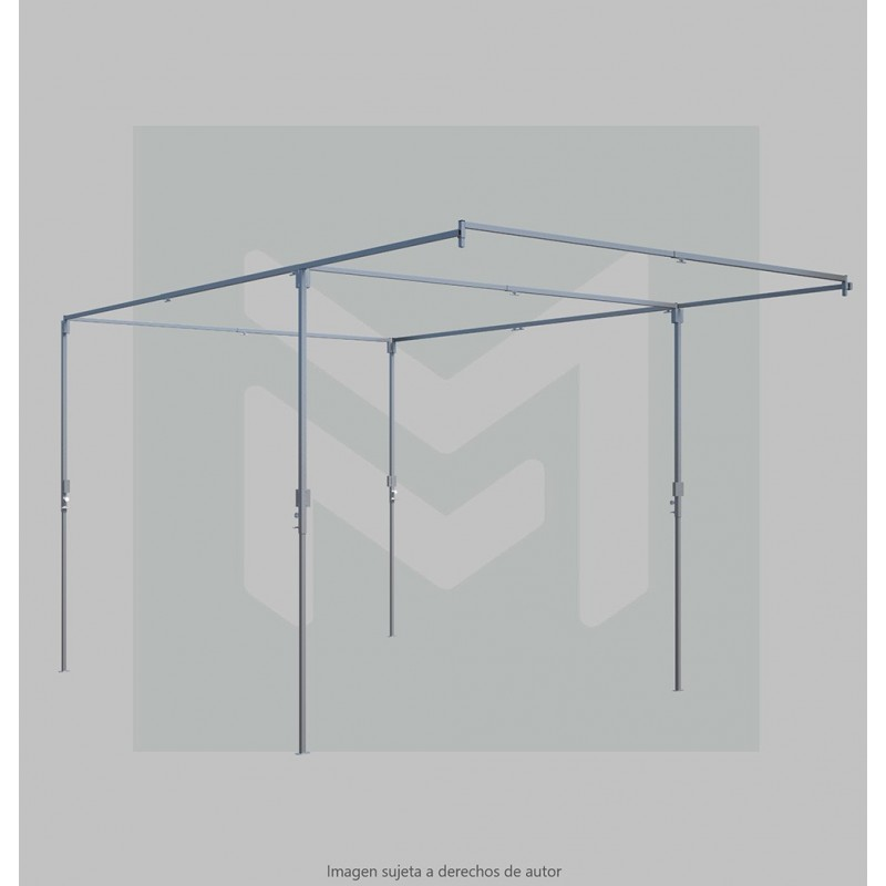 Flat roof market stall 3 m with canopy